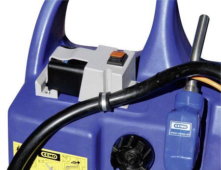 CEMO AdBlue® Trolley 60l mit Elektropumpe Centri SP30 12V, Akku und Ladegerät, 2,9m Zapfschlauch, automatische Zapfpistole,  fahrbarer PE Behälter, mit Handgriff, Tragegriffen und Rädern – Bild 2