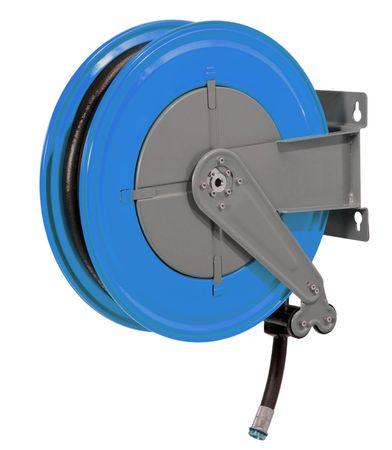 """Automatischer Schlauchaufroller aus lackiertem Stahlblech Serie P mit 10m Dieselschlauch ø 25mm. Anschlüsse 1"""""""