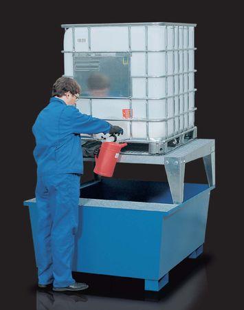 IBC Auffangwanne für einen IBC mit Abfüllbock, besonders stabile Stahlkonstruktion als Lager und Abfüllplatz für 1 x IBC, mit Gitterrost, Auffangvolumen 1000l