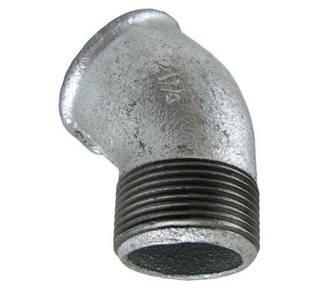 """2"""" DN50 Winkel 45° IG/AG Temperguss Fitting verzinkt nach DIN EN 10242"""