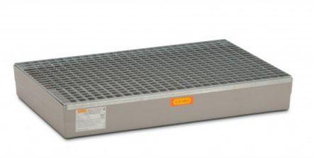 Cemo GFK-Paletten-Auffangwanne für Euro-Paletten m. verzinktem Stahlgitterrost, allgemeiner bauaufsichtlicher Zulassung, Auffganvolumen 140l, 120 x 80 x 19 cm, Tragfähigkeit 250kg