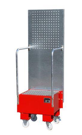 Lackierte fahrbare Auffangwanne mit Lochplattenwand Typ LPW, Gitterrostauflage, RAL3000, für 1 x 60l Fass, Auffangvolumen 60l, Leergewicht 52kg, Abm.: 570 x 590 x 1775 mm (LxBxH).