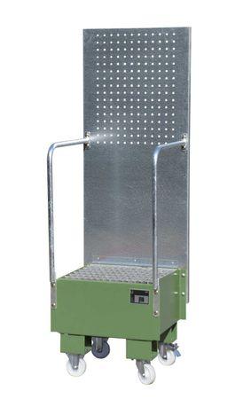 Lackierte fahrbare Auffangwanne mit Lochplattenwand Typ LPW, Gitterrostauflage, RAL6011, für 1 x 60l Fass, Auffangvolumen 60l, Leergewicht 52kg, Abm.: 570 x 590 x 1775 mm (LxBxH).