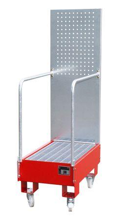 Lackierte fahrbare Auffangwanne mit Lochplattenwand Typ LPW, Gitterrostauflage, RAL 3000,  für 2 x 60l Fass, Auffangvolumen 60l, Leergewicht 56kg, Abm.: 875 x 500 x 1685 mm (LxBxH).