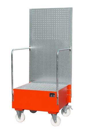 Lackierte fahrbare Auffangwanne mit Lochplattenwand Typ LPW, RAL 3000 Gitterrostauflage, für 1 x 200l Fass, Auffangvolumen 203l, Leergewicht 100kg, Abm.: 870 x 890 x 2110 mm (LxBxH).  – Bild 1