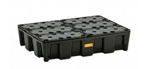 PE-Flächenschutzsystem: PE Auffangwanne 60HD mit PE-Rost, Auffangvolumen 60l, Traglast 250kg,80x60x18 cm (lxbxh), DIBt-Zulassung 001