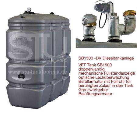 Doppelwandiger Dieseltank aus HDPE, Inhalt 1500 Liter, mit Tankinhaltsanzeige, Grenzwertgeber, Be- und Entlüftung, Befüllarmatur mit Bajonettverschluss und Deckel, Füllrohr