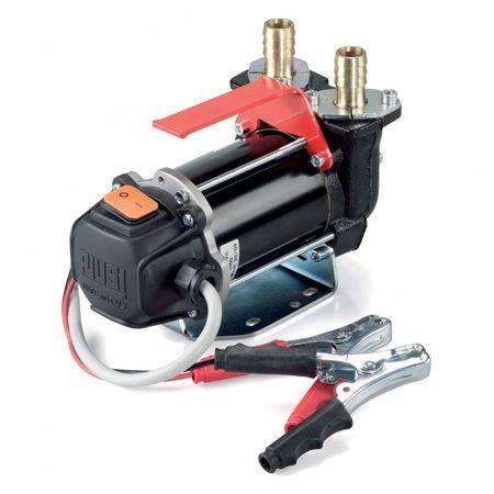 Piusi Carry 3000 DC 24V + 12V selbstansaugende Dieselpumpe max. 30 l/min (12V), 50l/min (24V), Netzschalter, 2m Kabel, Sicherung, Batterieklemmen, 2 Schlauchstutzen 19mm