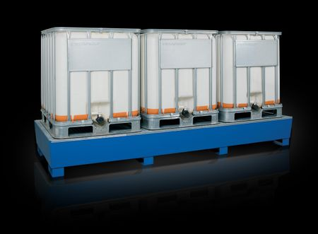Auffangwanne lackiert in RAL 5010 für 3 x 1000 Liter IBC,  besonders stabile Stahlkonstruktion als Lager und Abfüllplatz für 3 x IBC, mit Gitterrost, Auffangvolumen 1000l