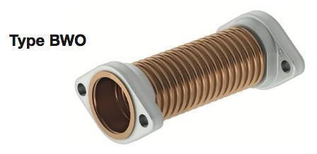 Elaflex Wellrohr aus Bronze, DN32 180mm, mit drehbaren Ovalflanschen, zur Montage zwischen Saugleitung und Pumpe. – Bild 1
