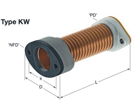 Elaflex Wellrohr DN32 180mm mit Kathodenschutz, zur Montage zwischen Saugleitung und Pumpe. – Bild 1