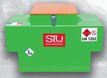 Dieselbox 450 einwandiger Tank aus lackiertem Stahlblech für den Transport auf Pick-Ups und Pritschenfahrzeugen gem. ADR 1.1.3.1c für den unmittelbaren Verbrauch (Handwerkgerregel), ink. 12V Dieselpumpe, 4m Zapfschlauch, autom. Zapfpistole – Bild 1