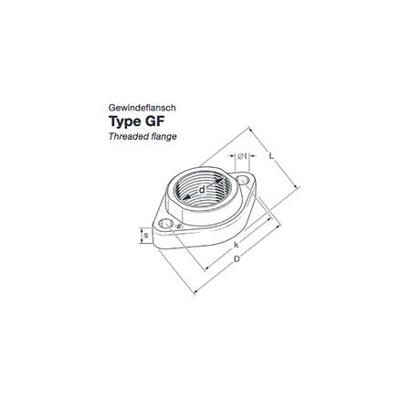 """Elaflex GF25 Gewindeflansch DN25 - 1"""" IG aus Schmiedestahl, Bohrung 12mm,  Bohrungsabstand 68mm – Bild 1"""