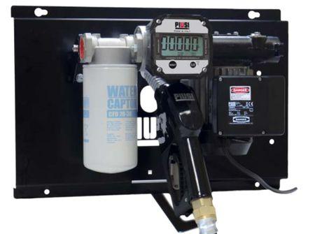 PIUSI ST K600 B/3 Dieselpumpe zur Wandmontage, lackierte Stahlblechkonsole mit 230V Pumpe 72 l/min, Digitalzählwerk K600, Water Captor Einwegfilter 30µ, 6m Zapfschlauch, autom. Zapfpistole mit Drehgelenk