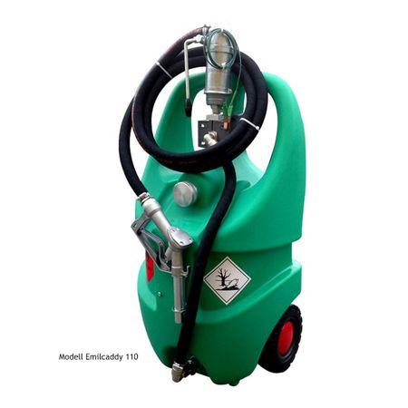 emilcaddy 55 Benzin, fahrbarer 55 Liter HD-PE Behälter mit Kolbenhandpumpe mit ATEX Zulassung, 3m Antistatik-Schlauch für Benzin, manuelle Zapfpistole aus Aluminium, 2 stabile Räder, Stützfuss – Bild 1