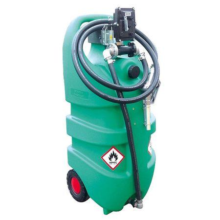 emilcaddy 110 Benzin, fahrbarer 110 Liter HD-PE Behälter mit 12V Pumpe mit ATEX Zulassung, 3m Antistatik-Schlauch für Benzin, automatische Zapfpistole, 2 stabile Räder, Stützfuss – Bild 1