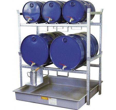 Cemo Fassregal Typ 800 mit 2 Lagerebenen für 3 x 60l Fässer und 2 x 200l Fässer mit GFK Auffangwanne 220l