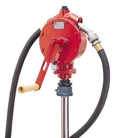 Fill-Rite® FR112: Handkurbelpumpe  für 200 l Fass für Benzin, Diesel, Alkylatbenzin, Hydraulik- und Motorenöl, ca. 2,4m Anti-Statik Schlauch, gebogenes Metall-Auslaufrohr.