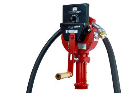 Fill-Rite® FR112CL: Handkurbelpumpe mit Zählwerk für 200 l Fass für Benzin, Diesel, Alkylatbenzin, Hydraulik- und Motorenöl,  ca. 2,4m Anti-Statik Schlauch, gebogenes Metall-Auslaufrohr.