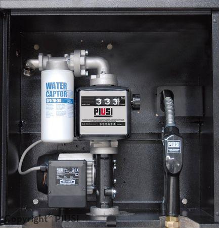 ST Box E120M Basic Abschließbarer Stahlschrank mit integrierter 230V Dieselpumpe ca. 85-90l/min., mechanisches Zählwerk K33, Schmutzfilter mit Wasserabsorber, 8m Zapfschlauch DN 25, autom. Zapfpistole – Bild 1