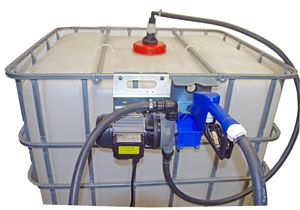 Adam Pumps IBC AdBlue® Membranpumpe, 30l/min., mit Metallkonsole zum Anhängen an den IBC, 6m Zapschlauch, 2m Saugschlauch, SEC IBC Adapter, automatische Zapfpistole mit Edelstahl Auslaufrohr 001