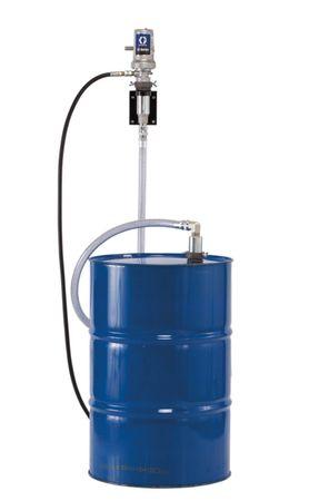 GRACO 3:1 Druckluftpumpe Typ LD zur Wandmontage, Wandhalterung, Saugrohr f. 200l Fass und 2m Verbindungsschlauch PVC mit Stahlwendel