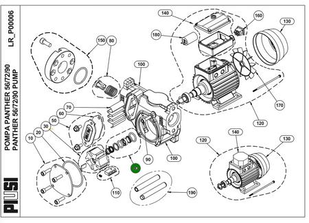Piusi Wellendichtungssatz für Dieselpumpe Betankungspumpe Flügelzellenpumpe Panther 56 / 72 / 90, Zeichnungsnummer 40