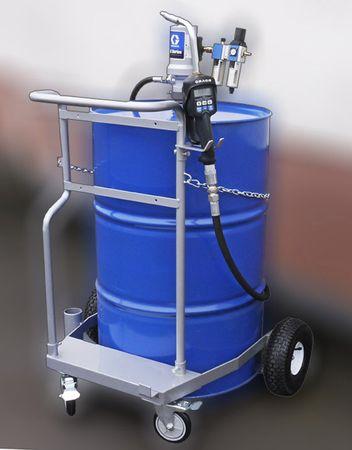 Fahrwagen für 200 Liter Fass, 3:1 Druckluftpumpe Modell GRACO® LD, Luftwartungseinheit, 4m Schlauch, GRACO® Handdurchlaufzähler mit Mengenvorwahl, starrer Auslauf – Bild 2