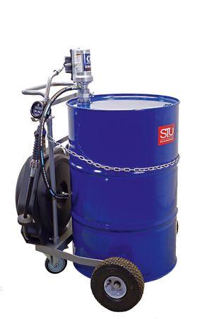 GRACO® mobile Ölanlage - fahrbare Druckluft Abfüllstation für 200 Liter Fass, 3:1 Druckluftpumpe, Luftwartungseinheit, Handdurchlaufzähler, schwenkbarer Schlauchaufroller mit 11m Ölschlauch DN12.