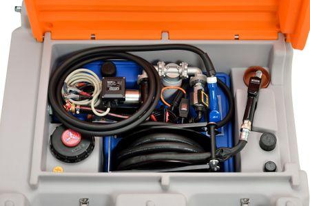 Cemo mobile Tankstelle für Diesel +AdBlue®, DT-Mobil Easy Combi Premium 850/100 Liter,  Elektropumpe Cematic Duo 24/12V, 420W,ca.70/34l/min., Schlauchaufroller mit 8m, autom. Zapfventil, Deckel – Bild 3