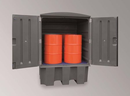 IBC Gefahrstoffstation mit PE Gitterrost zur Lagerung von Wassergefährdeten und aggressiven Medien. Auffangvolumen 1.000l, Material PE, zur Außenaufstellung geeignet. Eignet sich auch für AdBlue® AUS32 als Kleintankstelle für IBC. – Bild 1