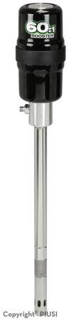 """Piusi Booster 60:1 Pneumatische Fettpresse, Saugrohrlänge 470mm,  ø 30mm, passend für 18-30kg Gebinde, Druckluft 4-7bar, Luftverbrauch 130-160l/min, Anschlüsse 1/4"""" IG Luftanschluss, 1/4"""" AG, Schlauchanschluss, PU-Dichtung"""