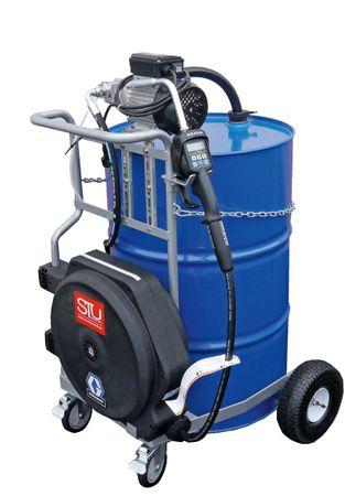 Mobile Ölanlage für 200 Liter Fass, 4-rädriger Fahrwagen, 230V Zahnradpumpe mit Druckschalter, Mengenvorwahlzähler, schwenkbarer Schlauchaufroller mit 11m Ölschlauch. – Bild 1