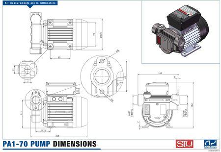"""230V Dieselpumpe gebraucht PA1-70 trocken-selbstansaugende max. 70 l/min. Bypassventil, Saugsieb, Anschlüsse 1"""" IG – Bild 4"""