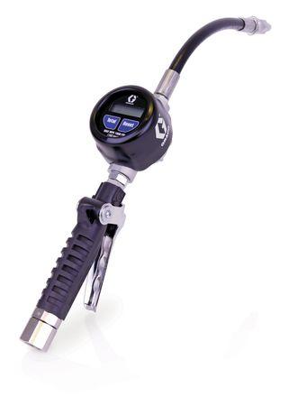 """GRACO® EM 8 Handdurchlaufzähler für Schmieröle, mit Digitalanzeige, rutschfester, ergonomischer, extrem stabiler Handgriff, Anschluss Drehgelenk 1/2"""" IG BSPP, flexibler Auslauf mit Anti-Tropfventil, Durchfluss max. 30l/min"""