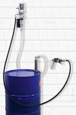 Frischöl Ölanlage Abfüllstation mit GRACO 3:1 Druckluftpumpe, Wandkonsole, Sauggarnitur für 208l Fass, 6m Ölschlauch, GRACO Handdurchlaufzähler EM8, Tropfbecher – Bild 1