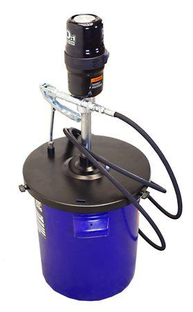 Druckluft Schmiergerät Druckluftfettpresse stationär für 18-20kg Fettgebinde, PIUSI BOOSTER 60, mit 4m Hochdruckschlauch, Staubschutzdeckel, Folgekolben, Abschmierpistole mit Drehgelenk, Rohr mit Greifkupplung – Bild 1