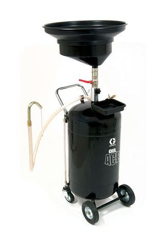 GRACO OilAce Altölauffanggerät mit Druckentleerung, 90l Stahlkessel mit Füllstandsanzeige, großer Auffangtrichter ø 61 cm, justierbare Höhe von 143 - 203 cm, stabile Rollen, ergonomischer Handgriff, Werkzeugschale