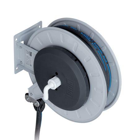 Piusi Automatischer Schlauchaufroller für AdBlue® AUS32 mit 15m EPDM Schlauch DN19, Schlauchstopper, Trommel arretierbar, verstellbare Arme, 90° Eingangsdrehgelenk mit Schlauchanschluss 19mm, für Wand-, Boden- und Deckeninstallation – Bild 1