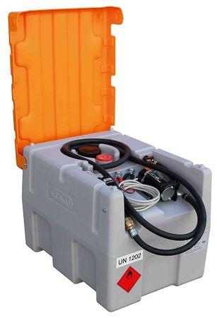 Transportable Dieseltankstelle aus Kunststoff mit ADR Zulassung. Inhalt 200 Liter. Ausstattung: Klappdeckel 12V Pumpen max. 40l/min, 4m Zapfschlauch, autom. Zapfpistole mit Drehgelenk.