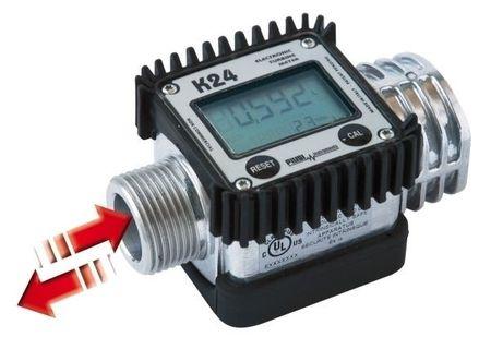 """Piusi K24-A Turbinenzähler, digitales Zählwerk mit LCD Anzeige, 1"""" AG+IG, . Gehäuse aus Aluminium, Turbine aus PP. Durchfluss 7-120 l/min., Genauigkeit ±1%,  max. 20Bar Betriebsdruck, Display 360° drehbar."""