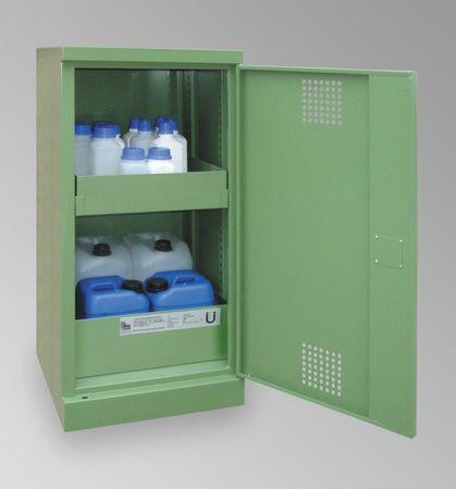 Sicherheitsschrank Umweltschrank aus Qualitätsstahlblech mit Auffangwanne für jede Lagerebene. 1-türige Ausführung, Bodenwanne 3mm Stahlblech mit Ü-Kennzeichnung. RAL6011