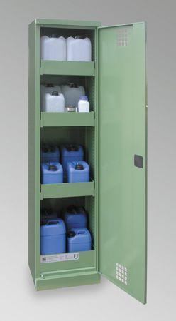 Umweltschrank aus Qualitätsstahlblech mit Auffangwanne für jede Lagerebene. 1-türige Ausführung, 4Lagerebenen, Bodenwanne 3mm Stahlblech mit Ü-Kennzeichnung. Außenmaße 500x500x1950 mm