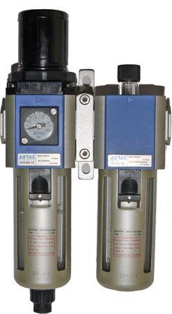 """2 teilige Wartungseinheit G3/8"""", 0,5-10 bar, mit Manometer, Polycarbonatbehälter und Schutzkorb. Komplett mit Kupplung DN 7,2 und zwei Steckern DN7,2 mit Dichtungen."""