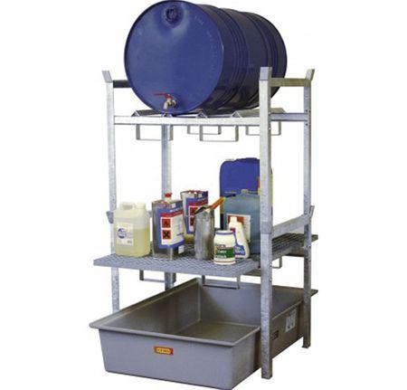CEMO Typ 400 Variante 3: Fassauflage für 2x60l Fässer oder 1x200l Fass, Gitterrost für Kleingebinde, GFK Auffangwanne 220l Volumen