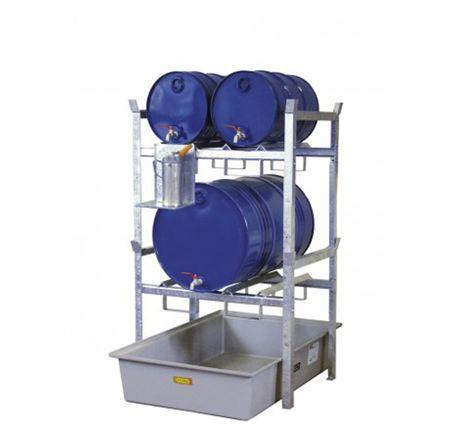 CEMO Typ 400 Variante 2: Fassauflage für 4x60l Fässer oder 2x200l Fass, GFK Auffangwanne 220l Volumen