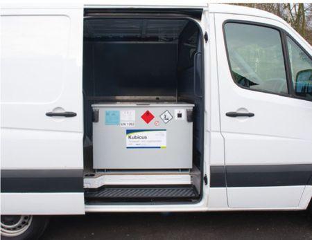 Einwandiger Transporbehälter aus Stahl ohne ADR Zulassung zum Transport von Diesel. Voulmen 250 Liter Leergewicht 90 kg, inkl. 12V oder 24V Dieselpumpe 40 l/min., Zähler, 4m Schlauch mit autom. Zapfpistole – Bild 2