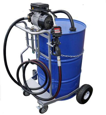 Fahrwagen für 200 Liter Fass, 230V Elektropumpe Piusi Viscomat 70,  4m Schlauch, Handdurchlaufzähler, geeignet zur Förderung dünnflüssiger Mineralöle. Förderleistung max. 20 l/min.