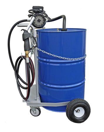 Fahrwagen für 200 Liter Fass, 230V Elektropumpe Viscomat 90, geeignet zur Förderung dünnflüssiger Mineralöle, 4m Schlauch, Ölpistole mit hohem Durchfluss, Förderleistung max. 50 l/min.