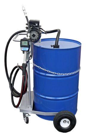 Fahrwagen für 200 Liter Fass, 230V Elektropumpe Viscomat 90, geeignet zur Förderung dünnflüssiger Mineralöle,  4m Schlauch, Handdurchlaufzähler mit Mengenvorwahl und hohem Durchfluss, Förderleistung max. 50 l/min. – Bild 1